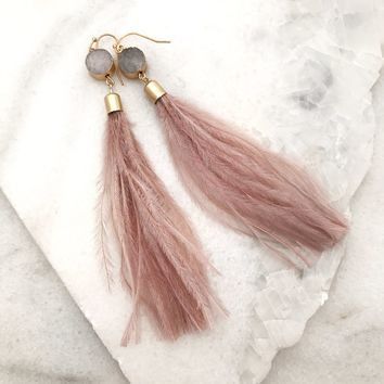 Feather Tassel Druzy Long Earrings - Pink