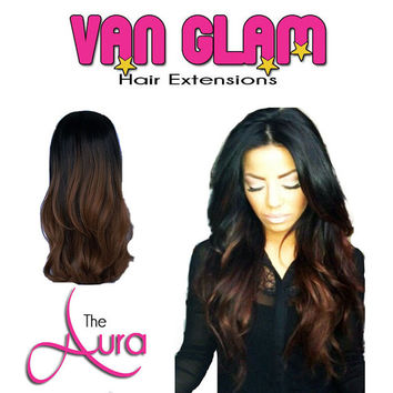 """The Aura, Ombre, Crown Clip In Hair Extensions, 20"""""""