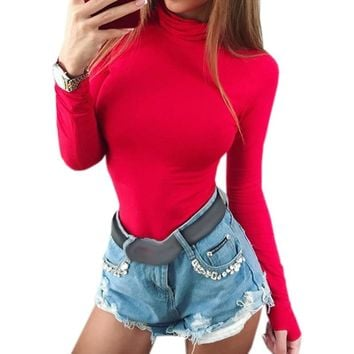 Female Body Autumn Top Bodycon Bodysuit Feminino Mujer Skinny Solid Sexy Club Stretchy Rompers Winter Jumpsuit Long Sleeve M0018