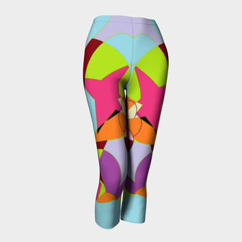 Capris legggings Gym pants Yoga leggings Three-quarter leggings Geometrical theme Running pants