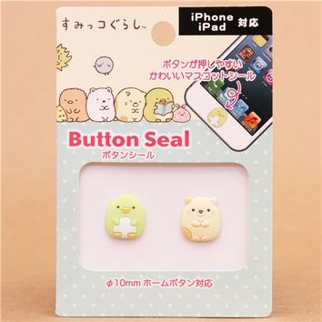 3D Sumikkogurashi cat penguin iPhone iPad button sticker - Cellphone Accessories - Accessories