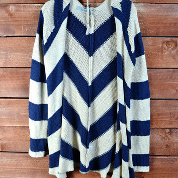 Ivory White Navy Blue Long Duster Chevron Zig Zag Cardigan Sweater