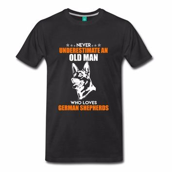 Never Underestimate An Old Man Who Loves German Shepherds - Mens T-Shirts