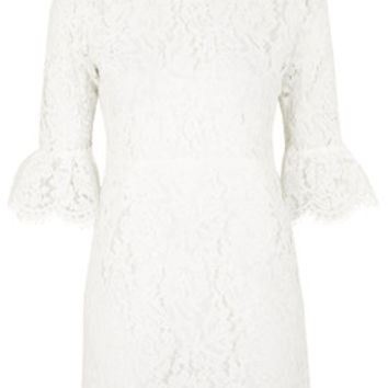 Bell Sleeve Lace Shift Dress - White