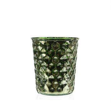 Set of 4 Green and Silver Hammered Mercury Glass Decorative Votive Candle Holders 4""