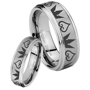 His and Hers Step Edge Hearts and Crowns Tungsten Silver Wedding Rings Set