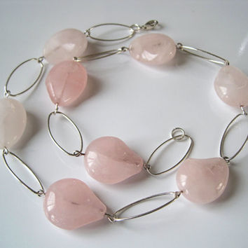 Rose Quartz and Sterling Silver Jewelry Set