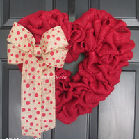 Red Burlap Heart Wreath with Red Polka Dot Bow