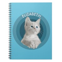 White Cute Blue Eyed Kitten In Turquoise Circles Note Book