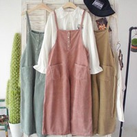 Corduroy overalls lovely relaxed casual retro wide leg pants Ankle-length pants mori girl 2016 spring Day-First™