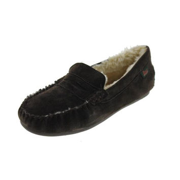 G.H. Bass & Co. Mens Suede Faux Fur Lined Moccasin Slippers