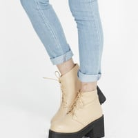 Leather Round Toe Walker Boot Beige