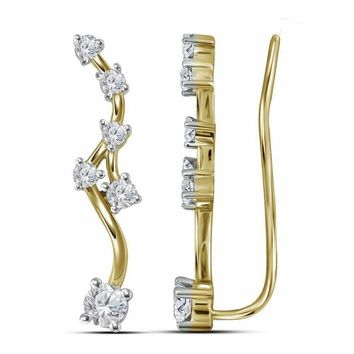 10kt Yellow Gold Women's Round Diamond Climber Earrings 3-4 Cttw - FREE Shipping (USA/CAN)