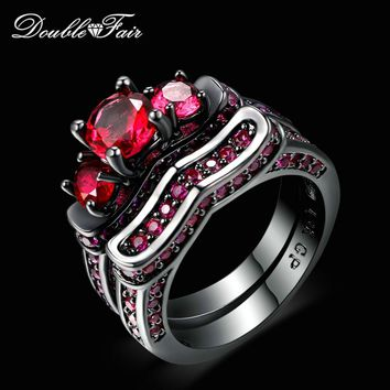 New Cubic Zirconia Red Crystal Rings Sets Black Gold Color Engagement / Wedding Ring Sets Fashion Brand Women Jewelry DFR620