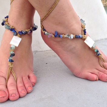 Barefoot sandals. beaded sandals, lapis gemstones boho barefoot sandles, crochet barefoot sandals, , yoga, anklet hippie shoes