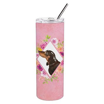 Black and Tan Dachshund Pink Flowers Double Walled Stainless Steel 20 oz Skinny Tumbler CK4262TBL20
