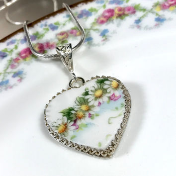 Antique Limoges China, Broken China Jewelry Pendant Necklace, Sterling Silver, Daisies Heart Valentine Gift for Wife, White, Yellow, Green