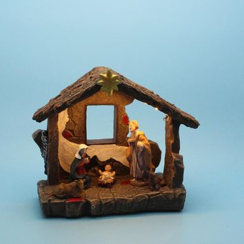 Christmas Home Decor Nativity Scene Figurines Set and House With Warm White Led Light