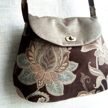 Tapestry Fabric Cross body Bag-  Floral Handmade Crossbody Handbag