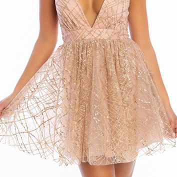 Pop Princess Rose Gold Glitter Geometric Pattern Sleeveless Spaghetti Strap Plunge V Neck Backless Flare A Line Mini Dress