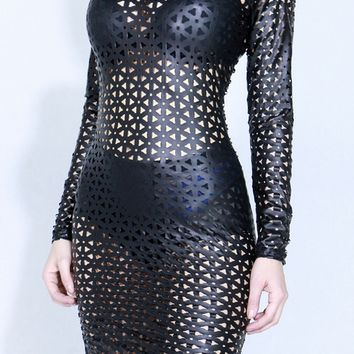 Faux Leather Crochet Hole Punched Dress
