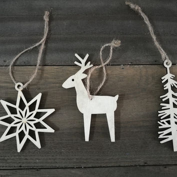 Wood Christmas Tree ornaments,tree shape, deershape and snow shape ornaments, idea for Christmas tree and party decoration