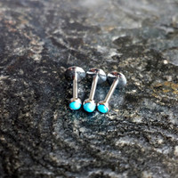"2mm Turquoise 16g - 5/16"" (8mm) Piercing Barbell Stone Cartilage Helix Tragus"