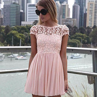 Floral Crochet Short Sleeve V-Cut Back Pleated Chiffon Mini Dress