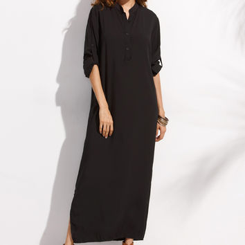 Black Button Shirt Rolled Up Sleeves Side Slit Maxi Dress