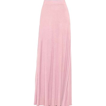 Women's Pink Maxi Skirt With Fringes