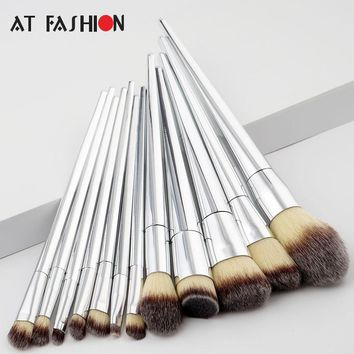 12Pcs Set Professional Makeup Brush Foundation Eye Shadows Lipsticks Powder Make Up Brushes Tools Silver Brush pincel maquiagem