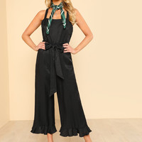 Solid Satin Tank Jumpsuit BLACK