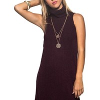 Ribbed Turtleneck Dress, Plum