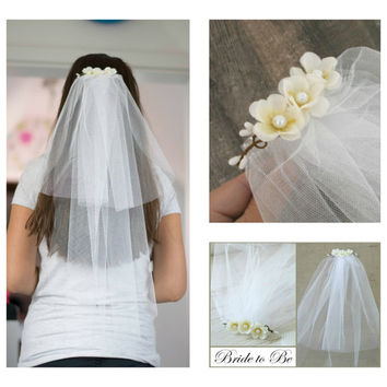 Bachelorette Veil Bridal Shower Veil Party Accessory Headband Veil Flower Bride Party Rustic Wedding
