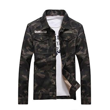 Spring Men camouflage denim jacket Military Tactical windbreaker Slim Coats Fashion Camo jeans Outerwear Tops plus suze 062003