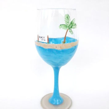 beach palm tree hand painted wine glass