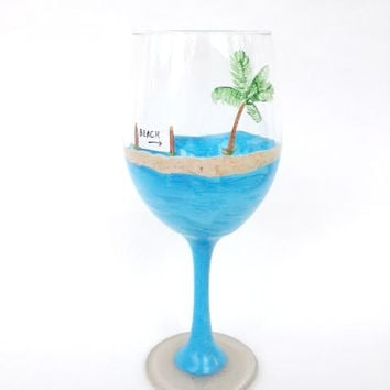 beach palm tree hand painted wine glass - Wine Glass Design Ideas