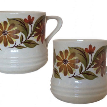 Vintage Stoneware Mugs Capri Bake Serve n Store Mugs Retro Coffee Tea