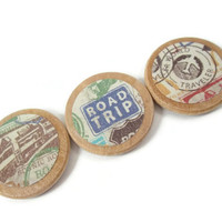 Travel Magnet Set - Wooden Magnets - Refrigerator Magnets