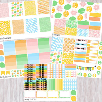 Weekly Planner Sticker Kit, Sunshine Sticker Kit, Yellow and Green Sticker Kit, Weekly Stickers, Planner Stickers, Summer Stickers (#0199)