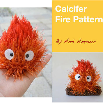 Calcifer pattern fire amigurumi crochet PDF