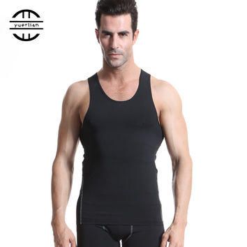 YEL Men Compression Tank Tops Stringer Bodybuilding Fitness Men's GYM Tank Tees Undershirts Male Shirts Sports Running Vest 1001