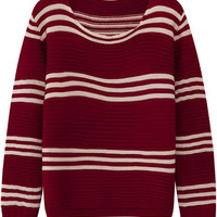 Wine Red Striped Long Sleeve Sweater