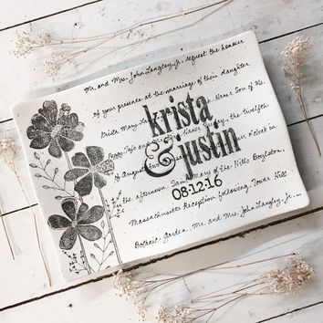 Personalized Flower Wedding Invitation Platter ~ Flare