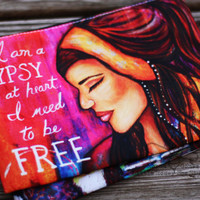 Pink Zippered Cosmetic Bag - Gypsy Makeup Bag - Zippered Pouch