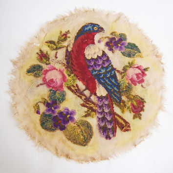 VICTORIAN Tapestry 1850's - 1900's  Rare Handmade Round Beautiful  bead  Bird wool beaded embroidery antique picture wall free shipping