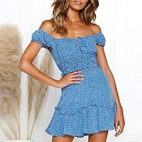 Vintage Polka Dot High Waist Short Dress Women New Casual Fashion Lace up Sexy Off Shoulder Vestidos