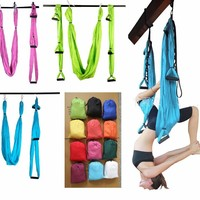 12 color Strength Decompression yoga Hammock Inversion Trapeze Anti-Gravity Aerial Traction Yoga Gym strap yoga Swing set
