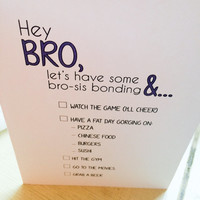 Brother Sister Blue Typography Card Hey Bro Siblings Greeting Thinking