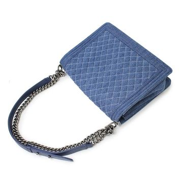 CHANEL Denim Chain Shoulder Bag BOY CHANEL Blue A67087 Never Used Mint